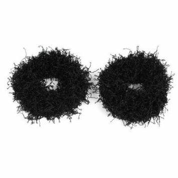 Lady Black Nylon Elastic Hairband Hair Tie Ponytail Holder 2 Pcs