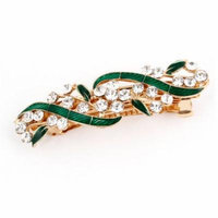 Glitter Rhinestone Accent Folwer Detail French Clip Hair Barrette for Lady