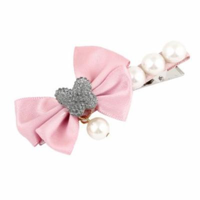 Lovely Rosy Brown Bowknot Decor Faux Pearl Alligator Hair Clip Barrette