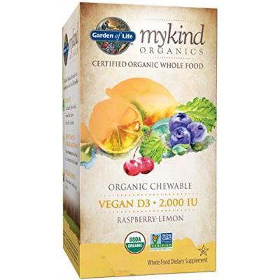 Garden of Life Mykind Organics 2000 IU Vegan D3 Chewable Tablet, Raspberry/Lemon, 30 Count