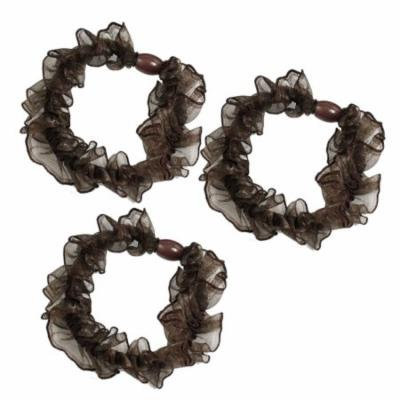 3 Pcs Brown Organza Ruffles Flexible Ponytail Holder Hair Ties Bands for Lady Woman