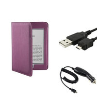 Insten INSTEN Purple PU Leather Skin Case Pouch+Data Cable+Car Charger For Amazon Kindle Touch