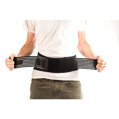 Ziraki Adjustable Lumbar Lower Back Support Brace - Self-heating Magnetic Therapy Belt - Relieve Pain And Stress Of High Intensity Exercise- FDA Approved [Black, Small 27