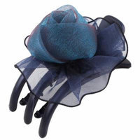 Lady Organza Rose Detail 3 Teeth Side Hair Claw Clip Clamp Dark Blue