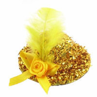 Faux Feather Bow Decor Top Hat Lady Women Alligator Hair Clip Yellow