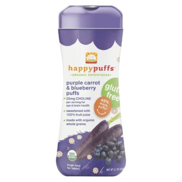 Happy Baby Happy Puffs - Purple Carrot & blueberry Puffs 2.1 oz