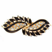 Lady Rhinestone Inlaid Leaf Style Spring Loaded Hair Barrette Clip Black