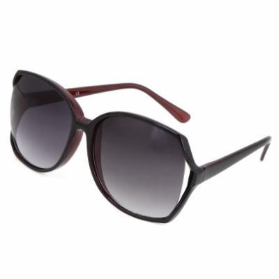 Women Man Burgundy Black Plastic Frame Black Lens Sunglasses Sun Glasses Eyewear
