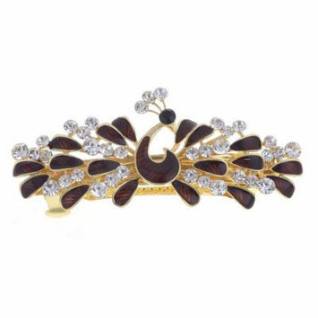 Woman Burgundy Peacock Shaped Metal Barrette Hairclip French Clip Gold Tone