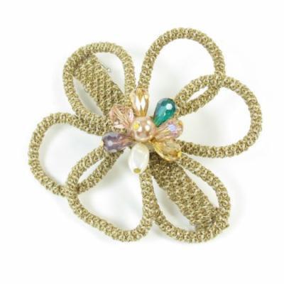 Women Khaki Gold Tone Floral Detail Metal Hair Clip Barrette Hairclip