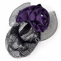 Lady Purple Rose Flower Bowknot Design Snood Net Hair Clip Barrette Black