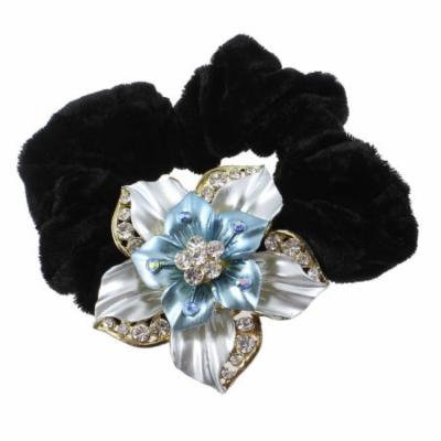 Rhinestone Blue Flower Velvet Hair Tie Band Ponytail Braid Holder Elastics Black