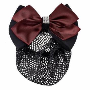 Women Black Burgundy Ruffled Bowtie Decor Barrette Hair Clip Snood Net