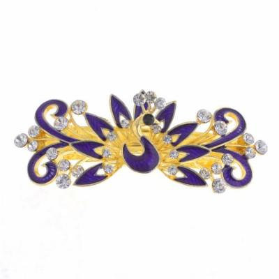 Woman Royal Blue Peacock Design Metal Barrette Hairclip French Clip Gold Tone
