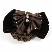 Coffee Color Ruched Bowknot Rhinestones Accent Snood Net Hair Clip Berrette