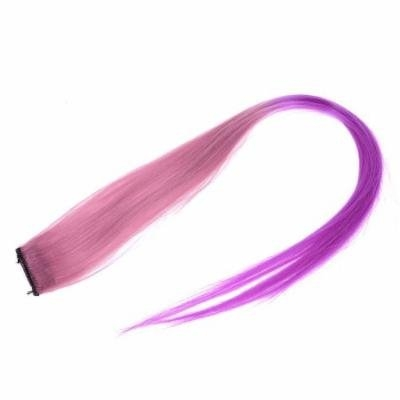 Costume Play Purple Pink Straight Hair Clip Wig Hairpiece for Ladies 51cm