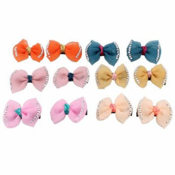 Lady Hairdressing Bowknot Rhinestone Accent Metal Hair Clips 6 Pairs