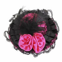 Women Fuchsia Polyester Roses Decor Hat Ornament Alligator Hat Hair Clamp Black