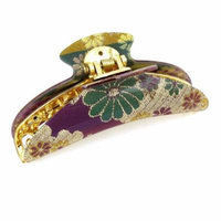 Crescent Design 20 Teeth Flower Pattern Purple Green Hair Claws Clip for Lady