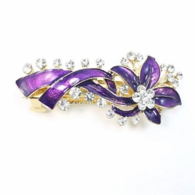 Twinkling Rhinestones Decorated Hairdressing Purple French Clip for Woman