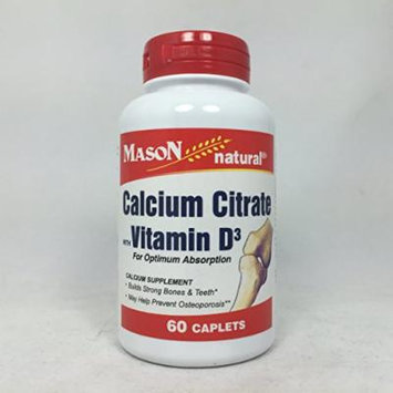 Calcum Citrate with Vitamin D3 Caplets, 60 Count per Bottle (4 Bottles)