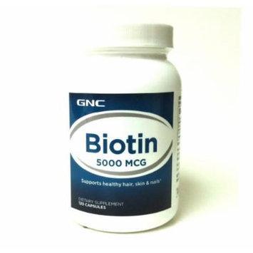 GNC Biotin 5000 MCG 120 Capsules (1, 2, 3, or 4 packs) (1 Bottle)