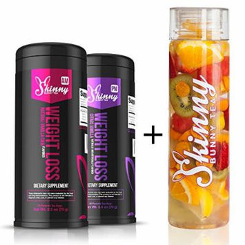Skinny Bunny Tea Weight Loss & Detox Bundle: Manage Weight, Support Immune System, Healthy Cleanse & Promote Health with Antioxidants (Vanilla Chai Tea AM + Citrus Vanilla Tea PM - 28 Day Supply + Skinny Bunny Water Bottle)