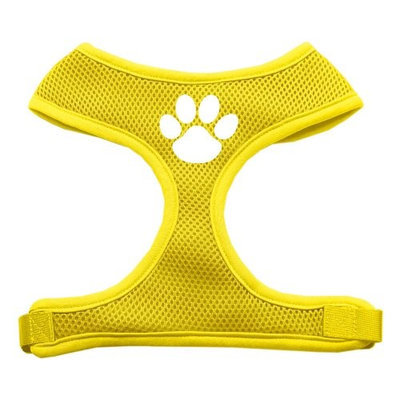 Mirage Pet Products 7016 MDYW Paw Design Soft Mesh Harnesses Yellow Medium