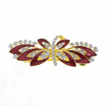 Woman Dark Red Flower Decor Metal Barrette Hairclip French Clip Gold Tone