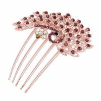 Party Wedding Peacock Plastic Rhinestone Decor Hair Comb Slide Clip Purple