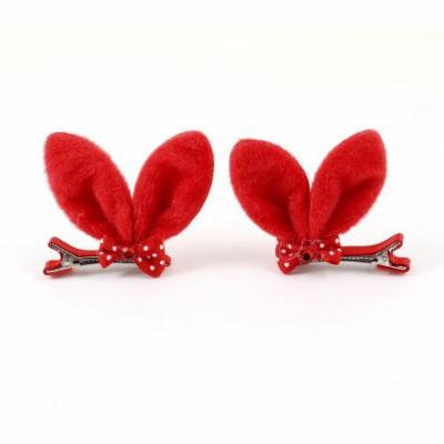 Girls Rabbit Ear Mini Bowknot Faux Crystal Adorning Alligator Hair Clip Red