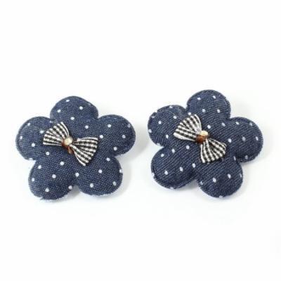 Pair Flower Design Bowknot Detail Single Prong Alligator Hair Clip Dark Blue