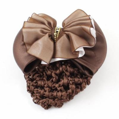 Woman Coffee Color Draped Bow Tie Accent French Barrette Hair Clip w Snood Net