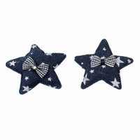 Dark Blue Star Shaped Bowknot Accent Sponge Padded Alligator Hair Clip Pair