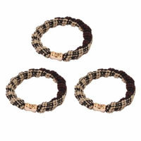 Ladies Beige Black Coffee Color Elastic Bands Hair Ties Ponytail Holders 3 Pcs