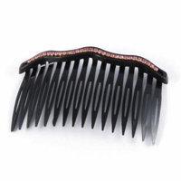 Purple Rhinestone Decor Plastic Black Comb Hair Clip for Ladies Girls