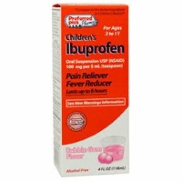 Ibuprofen Childrens Oral Suspension Usp 100 Mg By Kpp, Bubble-Gum Flavor - 4 Oz