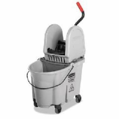 Rubbermaid Commercial Gray Executive WaveBrake Down-Press Mop Bucket, 35 qt