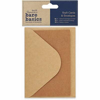 docrafts Papermania Bare Basics Cards and Envelopes, Kraft Multi-Colored