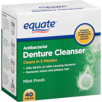 Equate Antibacterial Mint Fresh Denture Cleanser Tablets, 40 count