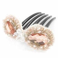 Pink Faux Crystal Accent Plastic Teeth Bow Tie Type Hair Clip Comb for Women