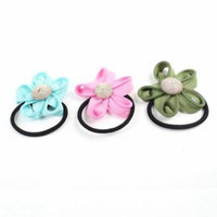 Girl Zipper Brim Design Stretchy Hair Ponytail Holder Tri-Color 3 Pcs