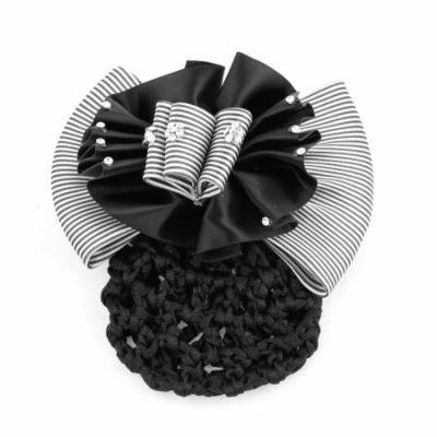 Lady Black White Rhinestone Flower Bowtie Accent Hairnet Snood Net Hair Clip
