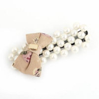 Lady Pink White Plastic Beads Bowknot Ornament Single Prong Alligator Hair Clip