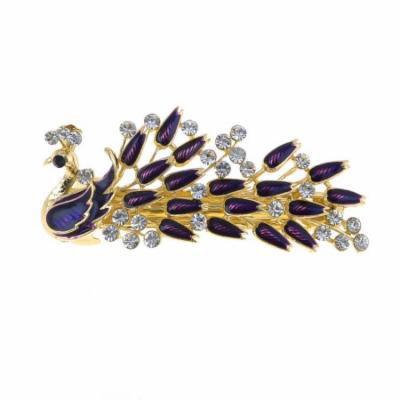 Woman Dark Purple Peacock Design Metal Barrette Hairclip French Clip Gold Tone