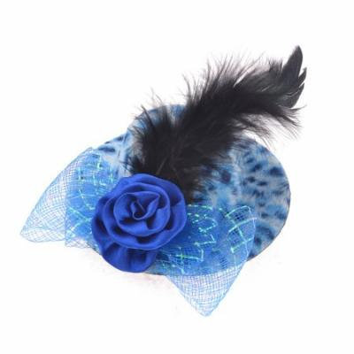 Feather Ornament Mini Top Hat Alligator Hair Clip Baby Bule for Woman