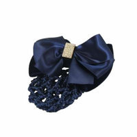 Dark Blue Nylon Polyester Bowknot Nurse Hair Clip w Nylon Hairnet
