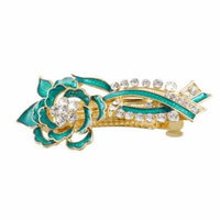 Gold Tone Metal French Clip Turquoise Green Flower Design Hair Clip Barrette