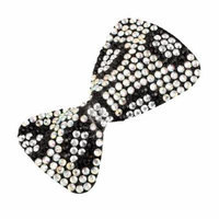 White Black Bowknot Style Single Prong Alligator Hair Clip Barrette