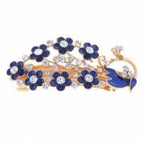 Ladies Flower Shape Shinny Rhinestone Inlaying Barrette Hair Clip Royal Blue